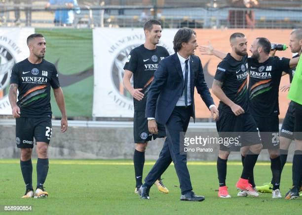 Headcoach of Venezia Filippo Inzaghi celebrates during the Serie B match between Venezia FC and FC Carpi at Stadio Pier Luigi Penzo on October 8 2017...