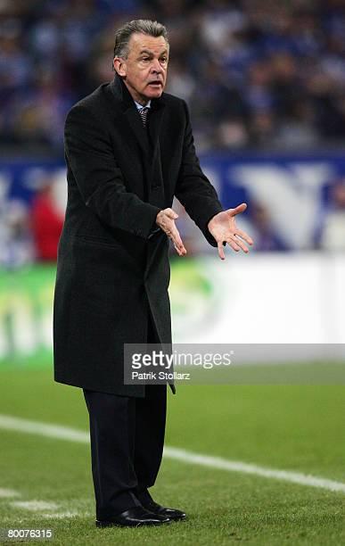 Headcoach Ottmar Hitzfeld of Bayern gestures during the Bundesliga match between Schalke 04 and Bayern Munich at the Veltins Arena on March 1 2008 in...