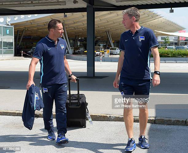 Headcoach Pal Dardai and Rainer Widmeyer of Hertha BSC during their arrival at Salzburg Airport ahead of the training camp in Schladming on July 19...