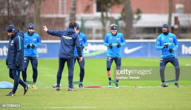 Headcoach Pal Dardai Marvin Plattenhardt Fitness trainer Henrik Kuchno Arne Maier Per Skjelbred and Salomon Kalou of Hertha BSC during the training...