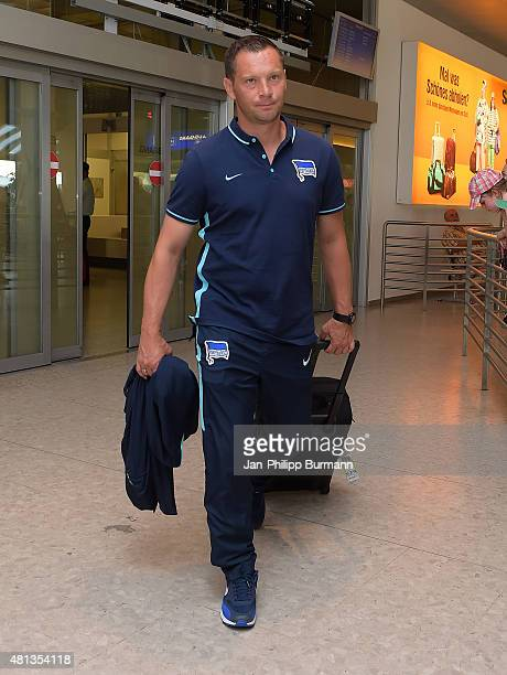 Headcoach Pal Dardai of Hertha BSC during their arrival at Salzburg Airport ahead of the training camp in Schladming on July 19 2015 in Salzburg...