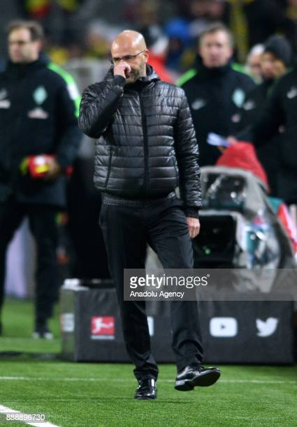 Headcoach Peter Bosz of Dortmund reacts during Bundesliga soccer match between Borussia Dortmund and Werder Bremen at the SignalIduna Park in...