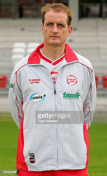 Headcoach Petrik Sander poses during the Bundesliga 2nd Team Presentation of FC Energie Cottbus on July 13 2007 in Jena Germany