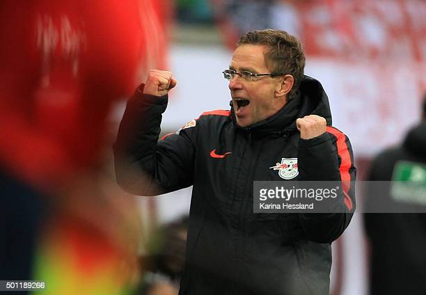 Headcoach Ralf Rangnick of Leipzig celebrates the victory during the Second League match between RB Leipzig and FSV Frankfurt at Red Bull Arena on...
