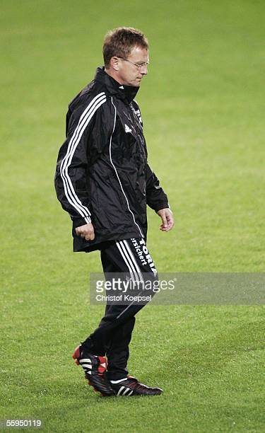 Headcoach Ralf Rangnick of Schalke is thoughtful during the training session of FC Schalke 04 for the Champions League Group E match between...