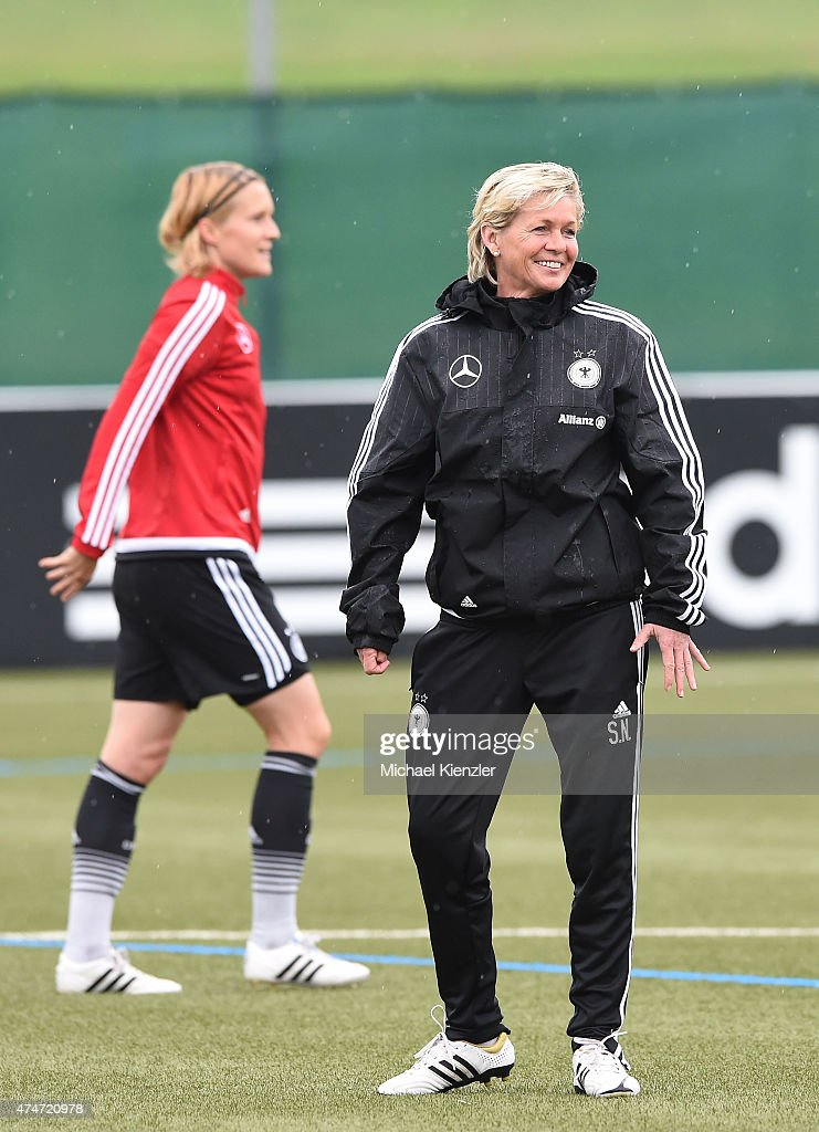 Headcoach Silvia Neid of Germany reacts during a training session on May 25, 2015 in Wollerau, Switzerland.