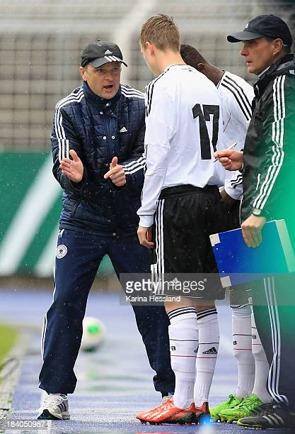 Headcoach Stefan Boeger and Lucas Meyer of Germany before substitutes during the friendly match between Germany and Russia at ErnstAbbeSportfeld on...