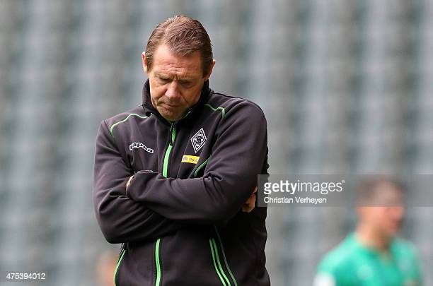 Headcoach Sven Demandt of Borussia Moenchengladbach looks dejected after the 3 Liga Playoffs match between Borussia Moenchengladbach II and Werder...