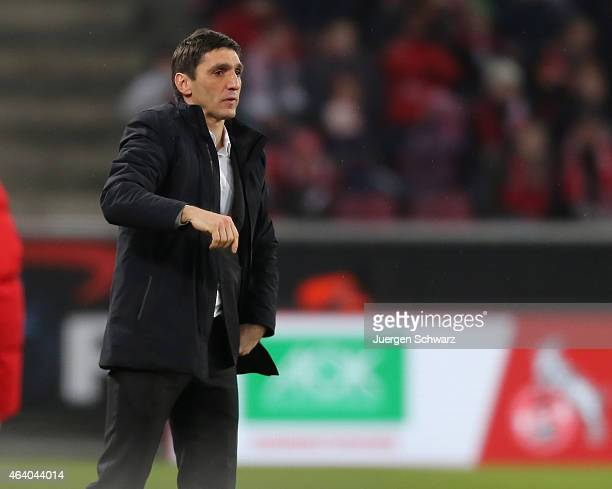 Headcoach Tayfun Korkut of Hannover gives instructions during the Bundesliga match between 1 FC Koeln and Hannover 96 at RheinEnergieStadion on...