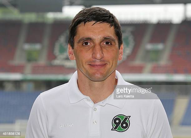 Headcoach Tayfun Korkut poses during the team presentation at HDIArena on July 8 2014 in Hanover Germany