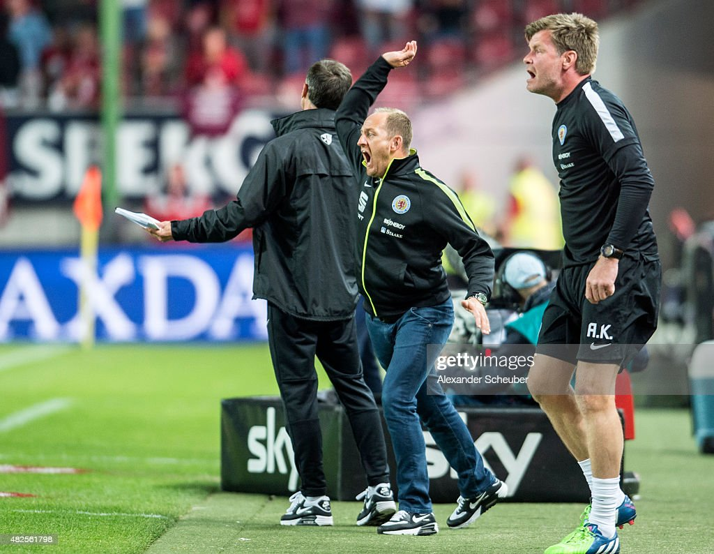 Headcoach Torsten Lieberknecht (Eintracht Braunschweig) is angry during the 2. Bundesliga match between 1. FC Kaiserslautern and Eintracht Braunschweig at Fritz-Walter-Stadion on July 31, 2015 in Kaiserslautern, Germany.