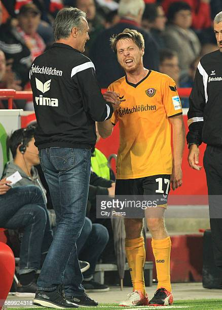Headcoach Uwe Neuhaus and Andreas Lambertz of SG Dynamo Dresden during the game between 1 FC Union Berlin and Dynamo Dresden on August 15 2016 in...