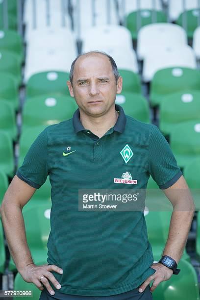 Headcoach Viktor Skripnik poses during the offical team presentation of Werder Bremen on July 20 2016 in Bremen Germany