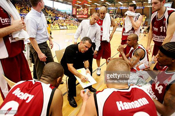 Headcoch Dirk Bauermann of Bamberg gives advice during the Basketball Bundesliga playoff game between EnBW Ludwigsburg and Brose Baskets Bamberg at...