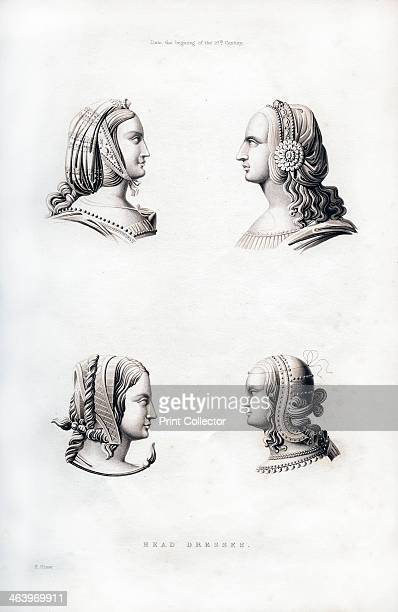 Headdresses early 16th century The caul under which the hair is gathered in the first two of these figures was popular in the reign of Henry VII The...