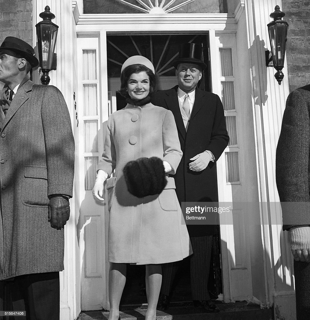 Headed For the White House. Washington, D.C.: John F. Kennedy, wearing top hat, and his wife, Jacqueline, leave their Georgetown home for the White House, where they had coffee with President Eisenhower prior to inauguration ceremonies.