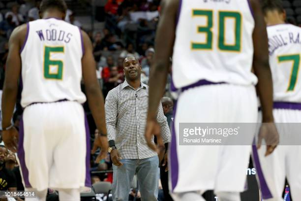 Headed Monsters head coach Gary Payton has words for his team against 3's Company during week nine of the BIG3 threeonthree basketball league at the...