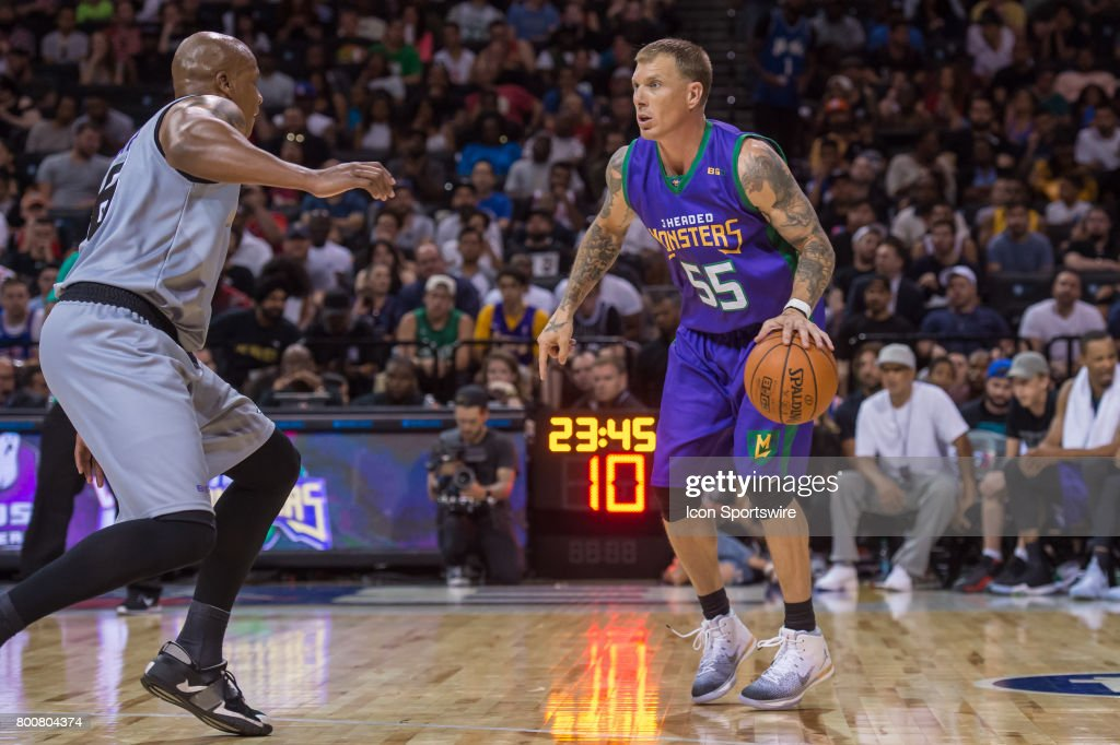 3 Headed Monsters player Jason Williams (55) drives to the basket during a BIG3 Basketball League game on June 25, 2017 at Barclays Center in Brooklyn, NY