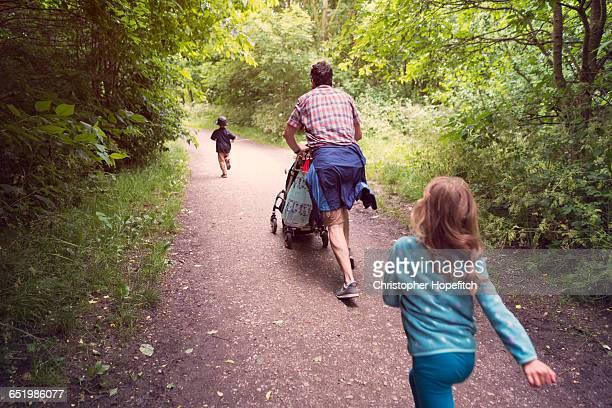Heading home through a park