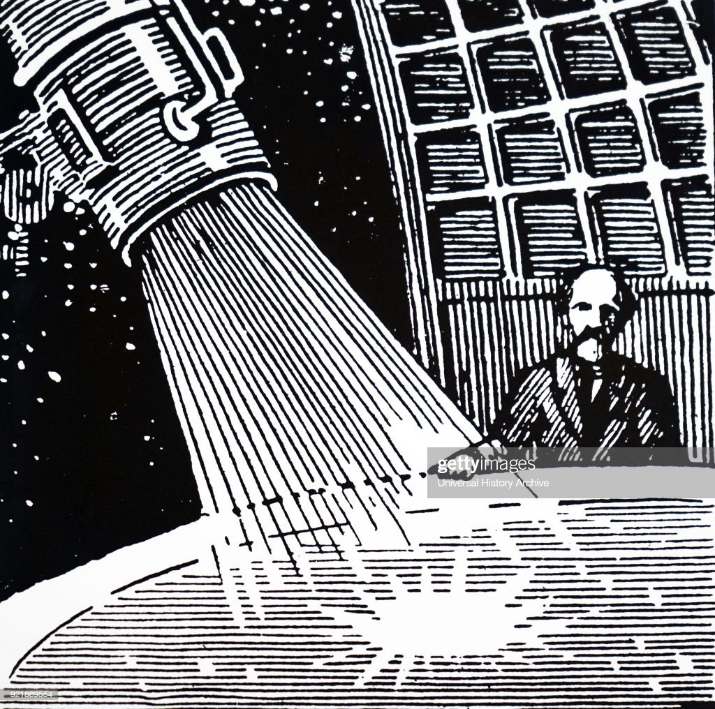 Heading of an article on Robert H. Goddard and his rocket published in Discovery London. Robert H. Goddard (1882-1945) an American engineer, professor, physicist, and inventor. Dated 20th century.