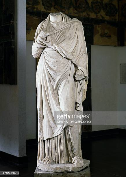 Headless female statue in marble from Herculaneum Campania Italy Roman civilisation 1st century BC 1st century AD Bergamo Museo Civico Archeologico
