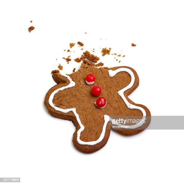 headless gingerbread man isolated on white background - gingerbread man stock photos and pictures