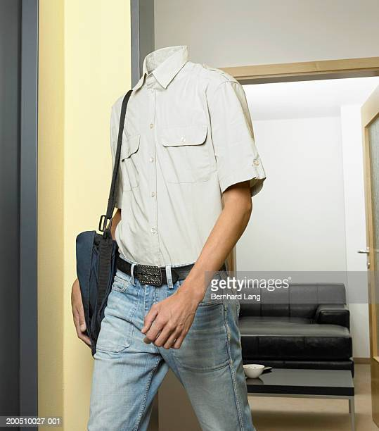 Headless man walking out of room (Digital Enhancement)