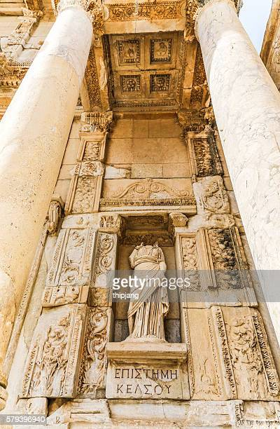 Headless Statue in the Library of Celsus in ancient city of Ephesus, Seljuk, Turkey