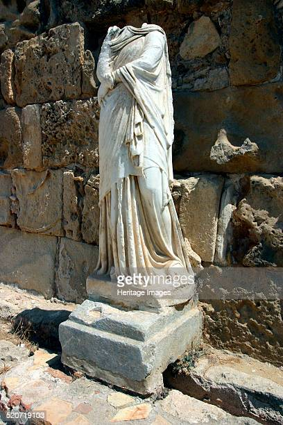 Headless statue, the gymnasium, Salamis, North Cyprus. Archaeologists have found remains at Salamis dating back to the 11th century BC. Evidence of...