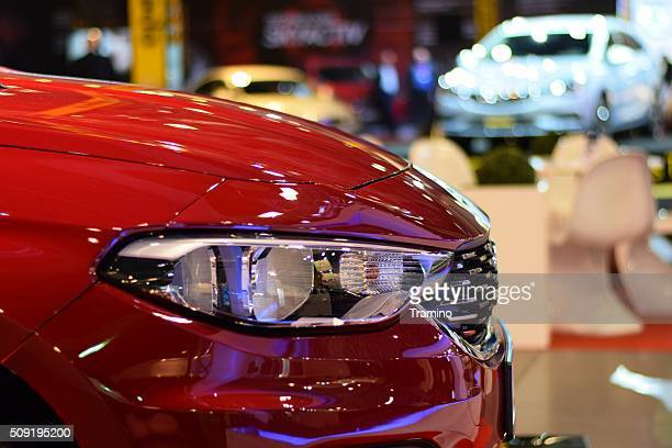 Headlight in a modern car on the motor show