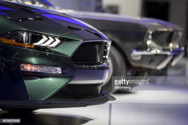 A headlight of the 2019 Ford Motor Co Mustang Bullitt sports vehicle is seen during the 2018 North American International Auto Show in Detroit...