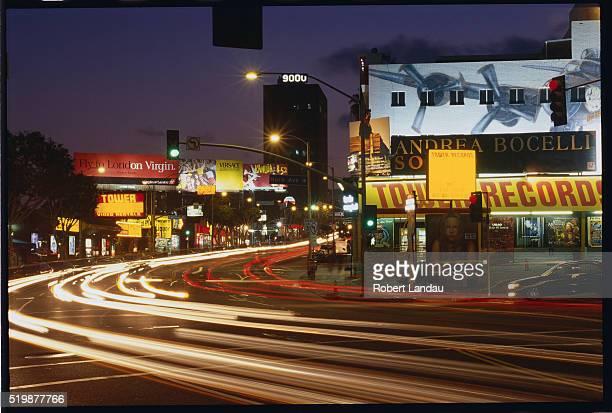 Headlight Streaks on Sunset Boulevard at Night