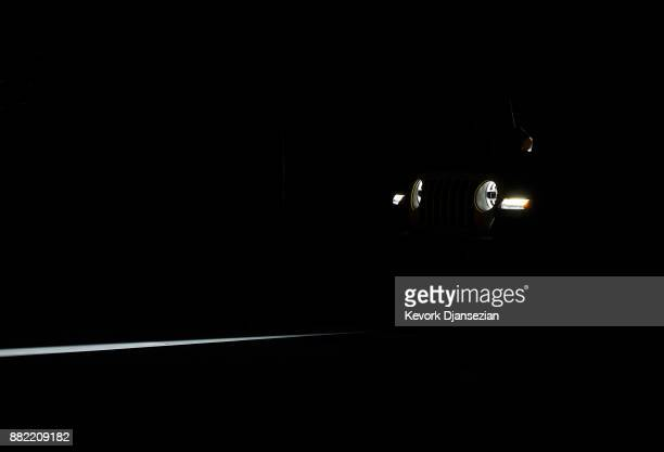 Headlights of the 2018 Jeep Wrangler is seen as it is introduced during the auto trade show AutoMobility LA at the Los Angeles Convention Center...