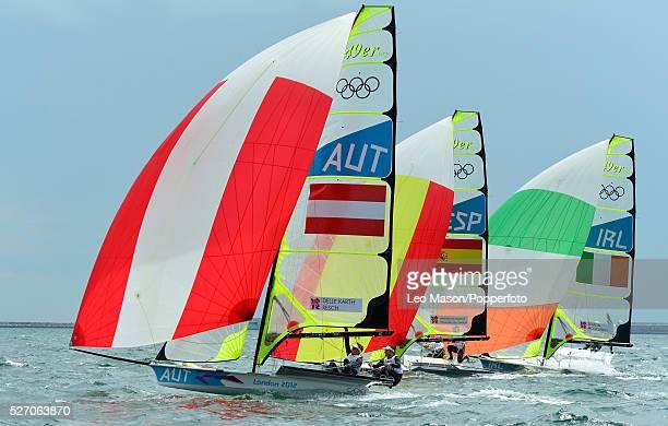 Olympics Sailing Weymouth Mens 49er Class Skiff Fleet race