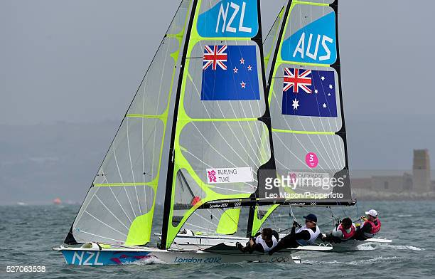Olympics Sailing Weymouth Mens 49er Class Skiff Peter Burling and Blair Tuke NZL lead Nathan Outteridge and Iain Jensen AUS in the fleet race