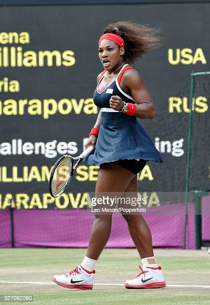 Olympics TennisWomen's Singles Gold Medal Match Serena Williams USA celebrates beating Maria Sharapova RUS Event Code USPW86678