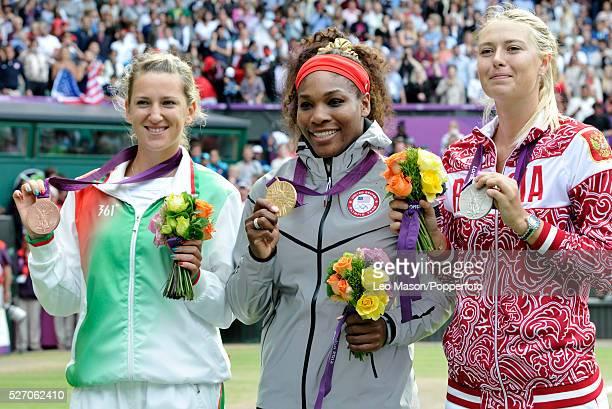 Olympics TennisWomen's Singles Medals presentation L to R Victoria Azarenka BLR Serena Williams USA Maria Sharapova RUS Event Code USPW86678