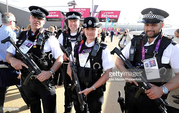 Olympics Track and Field Armed security police inside Olympic Park