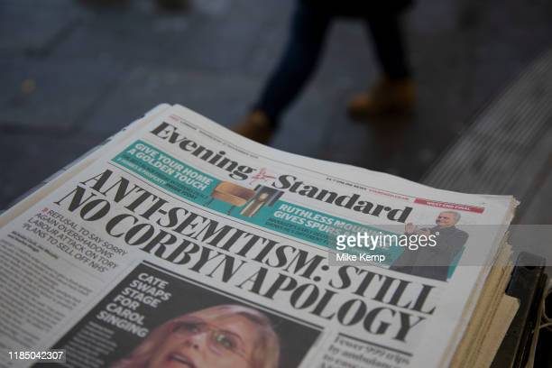 Headline on the Evening Standard Newspaper saying that Jeremy Corbyn has yet to apologise for anti-Semitism within the Labour party following his...
