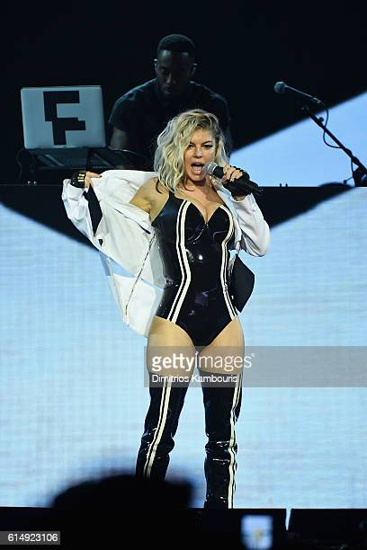 Headliner Fergie performs inside the Mohegan Sun Arena as part of the property's 20th Anniversary celebration at Mohegan Sun on October 15 2016 in...