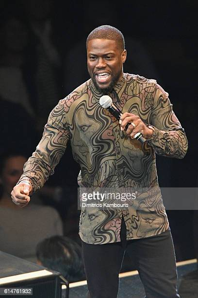 Headliner Kevin Hart performs standup comedy at Mohegan Sun as part of the 20th Anniversary Comedy AllStar Gala event at Mohegan Sun on October 14...