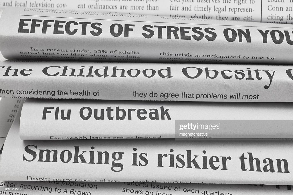 Headlines About Health Issues : Stock Photo
