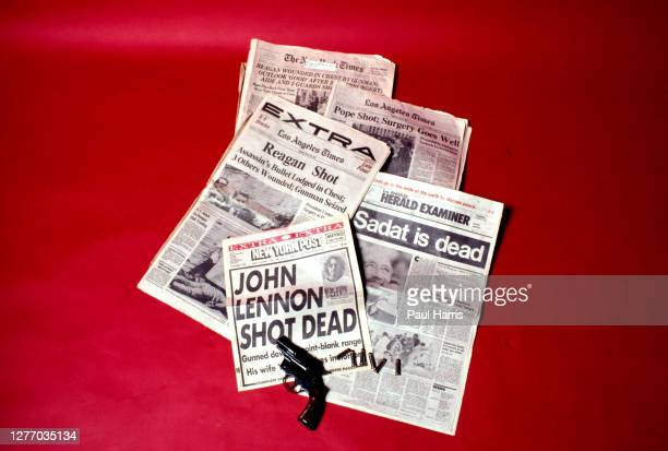 Headlines from New York Times, Los Angeles Times, Los Angeles Herald Examiner and the New York Post showing headlines of famous people being shot and...