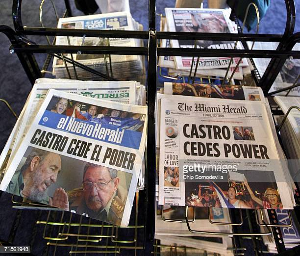 Headlines from the Miami Herald and its Spanishlanguage edition El Nuevo Herald display the news about Fidel Castro at Miami Internationl Airport...