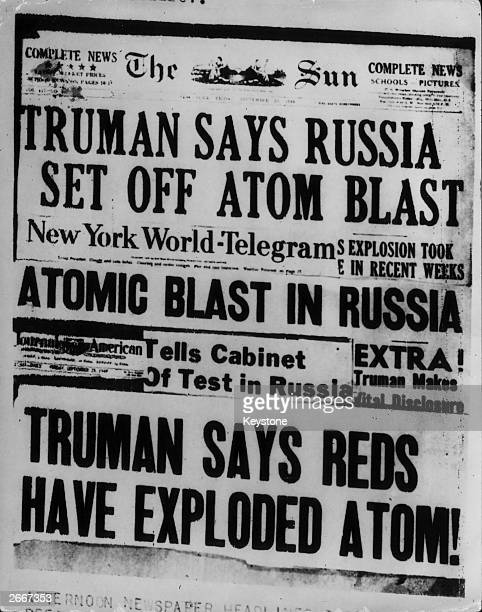 Headlines in New York papers announcing that Russia had exploded an atomic bomb