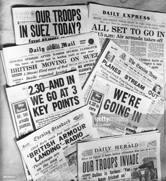 Headlines in the British press on October 31st 1956 about the Suez crisis