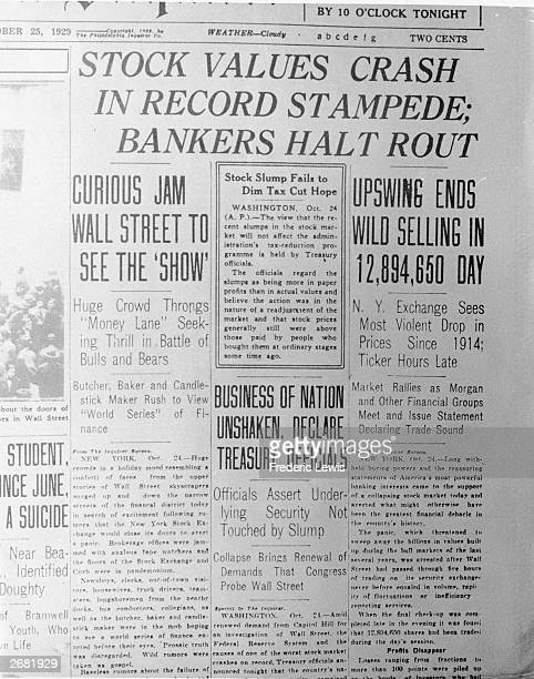 Headlines in the newspaper 'The Philadelphia Inquirer' relate to the stock market crash October 25 1929