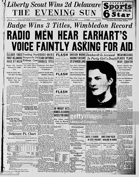 Headlines on the Baltimore Evening Sun report that radio signals from Amelia Earhart requesting aid have been detected after her disappearance