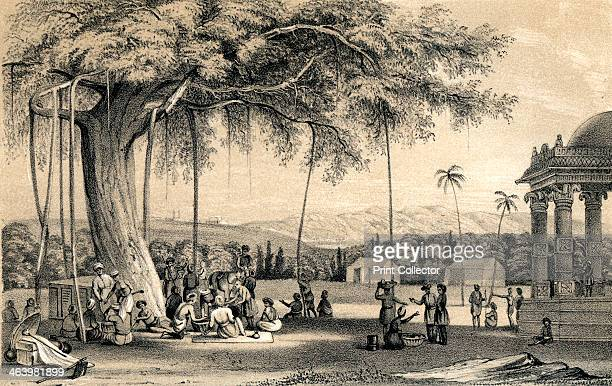 'Headman of the village holding his court' 1847 Meeting under a tree in an Indian village Illustration from The History of China and India by Miss...