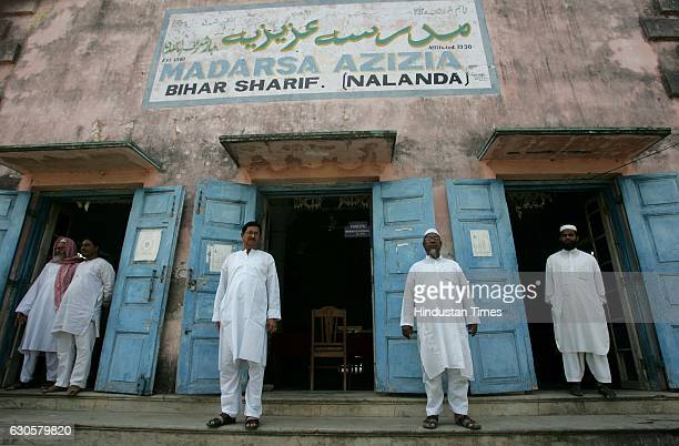 Headmaster Mohammed Mumtaz Alam with Maths teacher Zakaullah Mallick Arabic teacher Mohammed Shakeel Qusan and some more staffs seen at Madrasa...